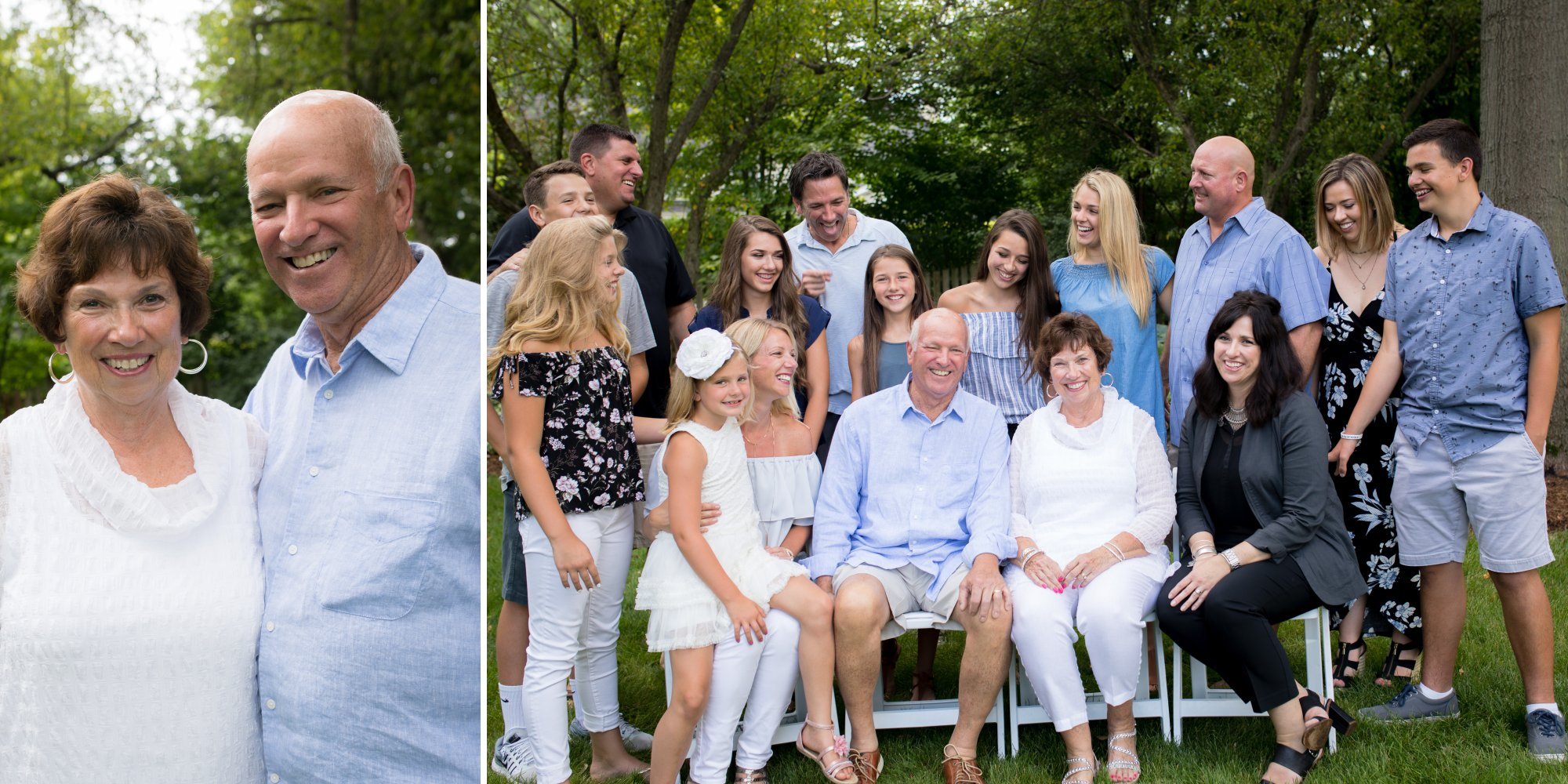 50th anniversary pictures of extended family laughing