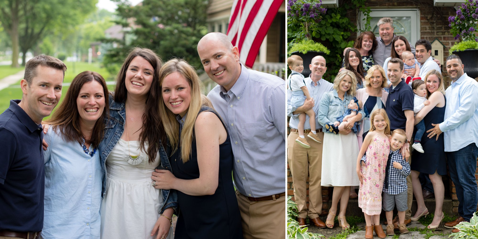 Adult siblings laughing together and large family photo in front of home they grew up in