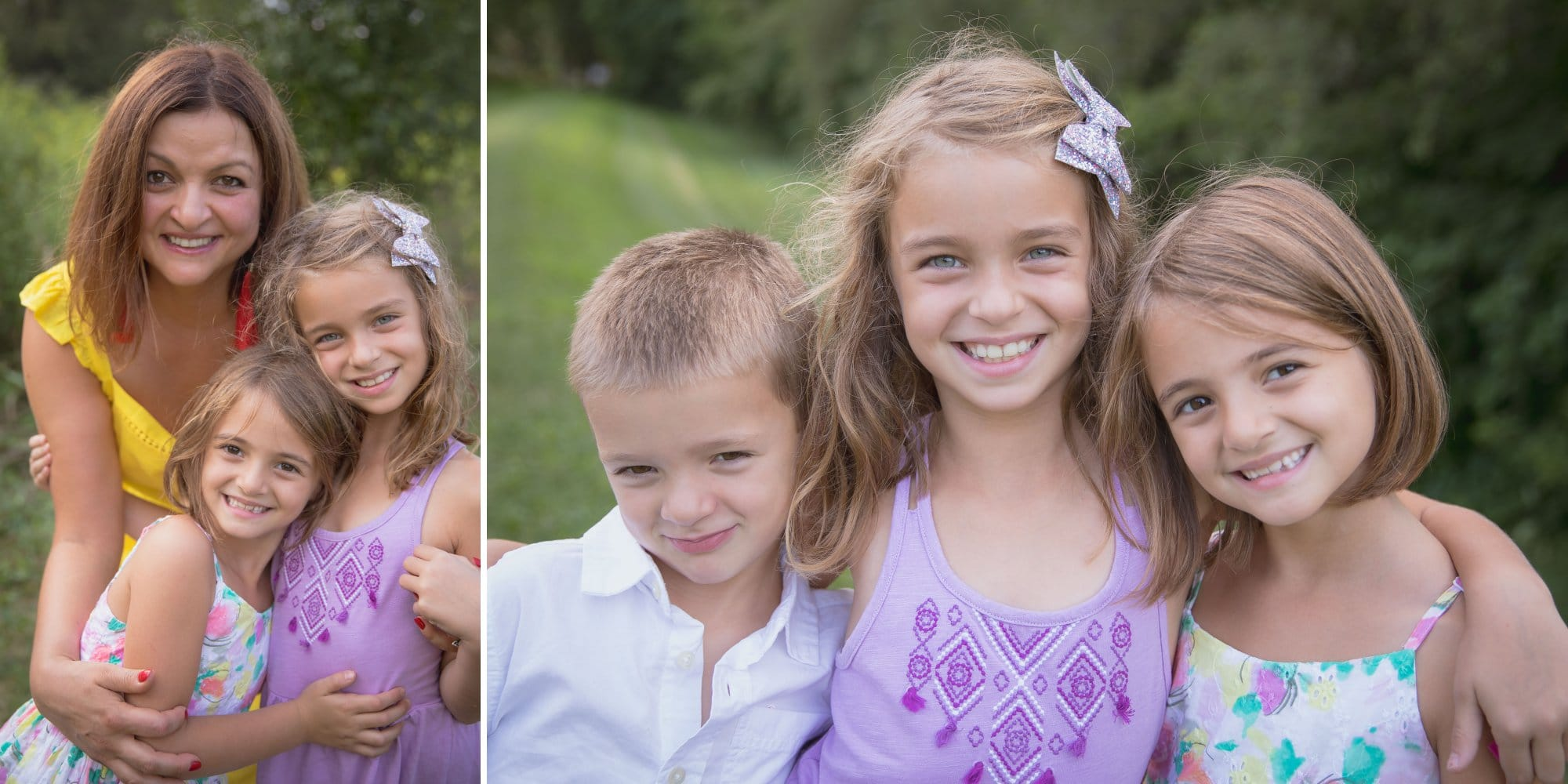 Casual family pictures of kiddos laughing together