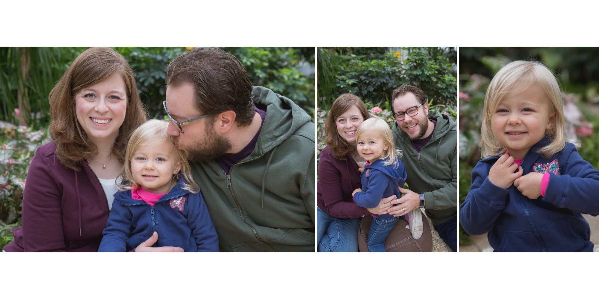 a toddler with her parents