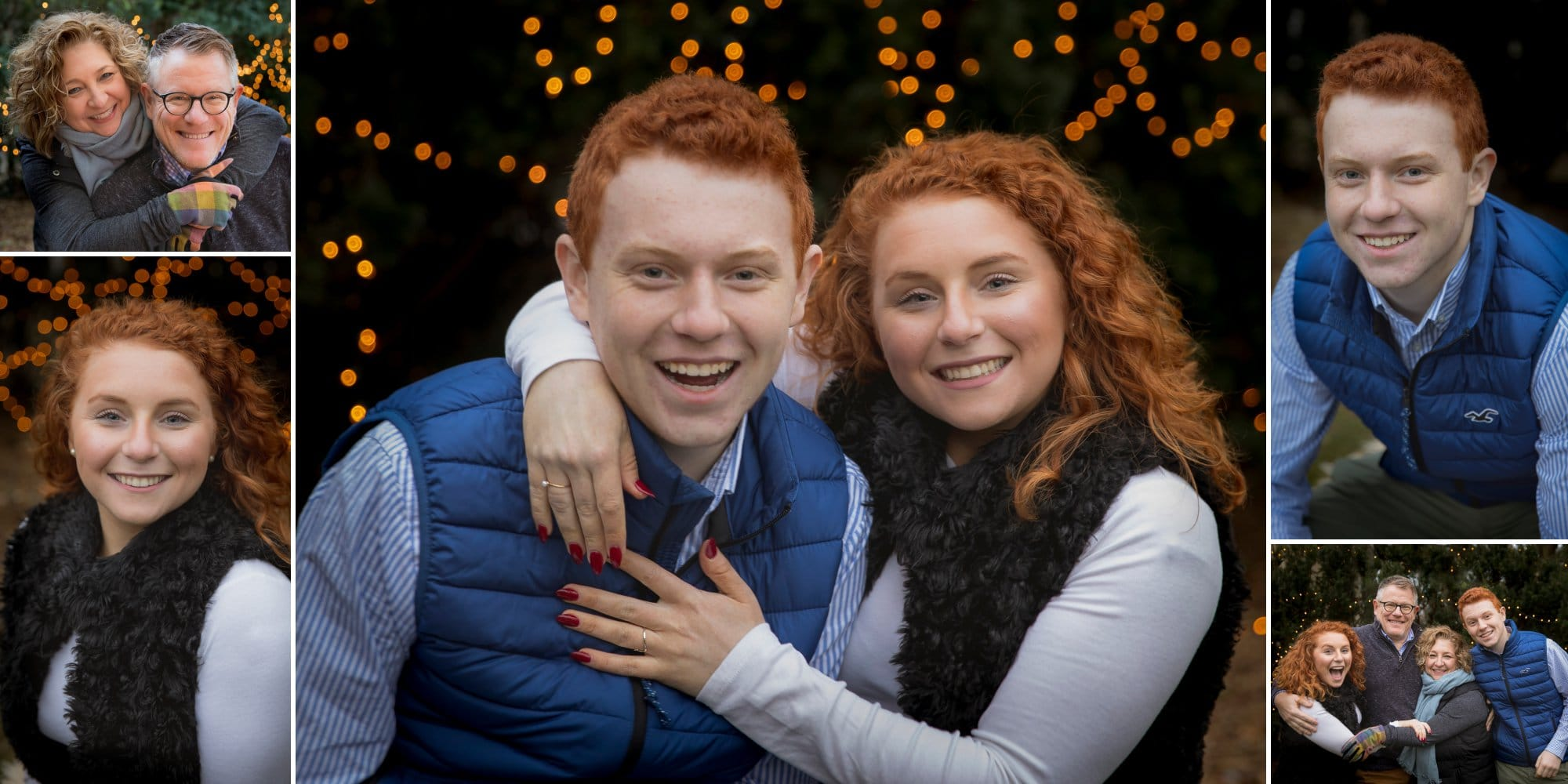 Elmhurst family of cute happy gingers with white winter lights